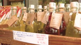 Pasta condiments and olive oil. Organic food ingredients in store. Cost of diets stock footage