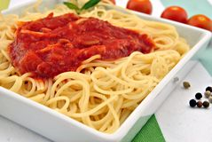 Pasta cooked in Italian style Stock Photos
