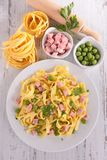 Pasta cooked with pea and ham Royalty Free Stock Photo