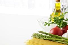 Pasta cooking. Italian food ingredients Stock Photo
