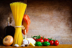 Pasta cooking ingredients Stock Photography