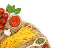 Pasta cooking ingredients Stock Image