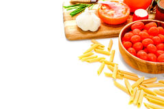 Pasta Cooking Ingredients Seasoning and Tomatoes stock photo