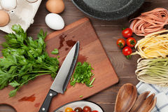 Pasta cooking ingredients and utensils Royalty Free Stock Photos