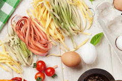 Pasta cooking ingredients and utensils Royalty Free Stock Photo
