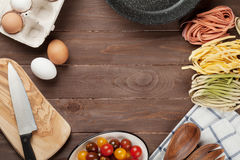 Pasta cooking ingredients and utensils Royalty Free Stock Photography