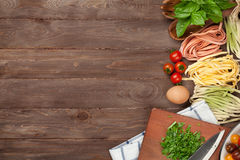 Pasta cooking ingredients and utensils Stock Photography