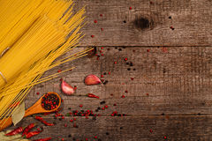 Pasta and cooking ingredients Royalty Free Stock Images