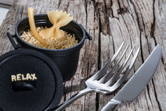 Pasta and cooking pot Royalty Free Stock Images