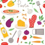 Pasta cooking seamless pattern Royalty Free Stock Photo
