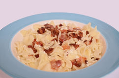 Pasta with Cottage Cheese and Bacon Stock Images