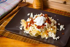 Pasta with cottage cheese Royalty Free Stock Photography