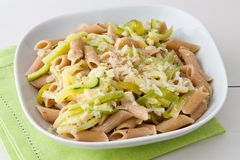 Pasta with Courgette Royalty Free Stock Images
