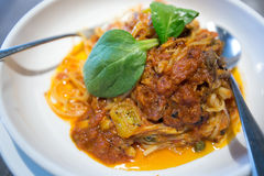 Pasta With Crab Meat. A pasta with crab meat in a bowl Royalty Free Stock Photos