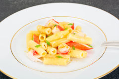 Pasta with Crab Sticks and Cheese Royalty Free Stock Image