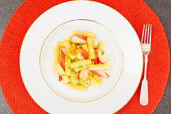 Pasta with Crab Sticks and Cheese Stock Image