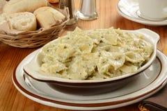 Pasta in a cramy pesto cream sauce Royalty Free Stock Photography