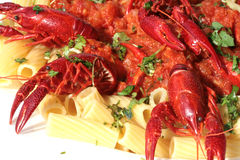 Pasta with crawfish Royalty Free Stock Photography