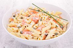 Pasta with cream and salmon Royalty Free Stock Image