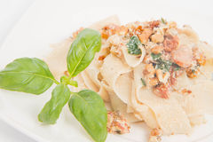 Pasta with cream sauce Stock Image