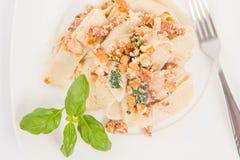 Pasta with cream sauce Stock Photo