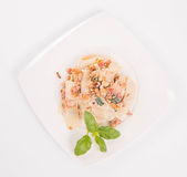 Pasta with cream sauce Royalty Free Stock Photos
