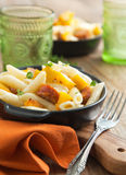 Pasta with cream sauce, italian sausage and pumpkin Royalty Free Stock Photos