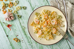 Pasta in cream sauce with shrimp Royalty Free Stock Image