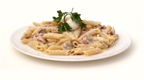 Pasta with creamy mushroom sauce Stock Photography