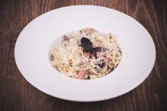 Pasta with creamy mushroom sauce Royalty Free Stock Image