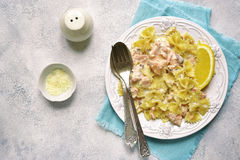 Pasta with creamy salmon and parmesan.Top view. Stock Images