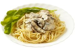 Pasta with creme mushroom sauce (isolated). Pasta with creme mushroom sauce over macro shot (isolated Royalty Free Stock Photography