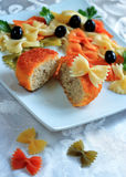 Pasta with a cutlet of various colors Stock Photo