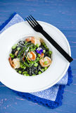 Pasta with cuttlefish ink and vegetables Royalty Free Stock Photography