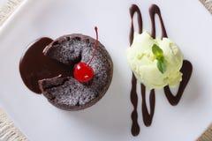 Pasta de azúcar con el primer del helado de la menta visión superior horizontal Imagen de archivo