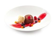 Pasta de azúcar del chocolate con helado Fotos de archivo libres de regalías