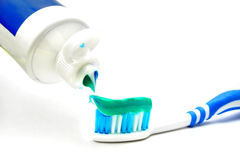 Pasta de dente na escova Fotografia de Stock