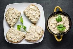 Pasta de pescados con el huevo Foto de archivo libre de regalías