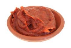 Pasta de tomate en un pequeño cuenco Imagen de archivo libre de regalías