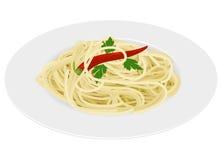 Pasta degli spaghetti su priorità bassa bianca Fotografia Stock Libera da Diritti
