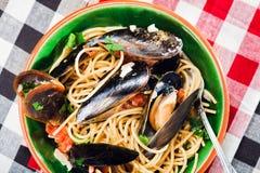 Pasta dei frutti di mare Immagine Stock
