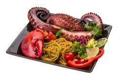 Pasta dei frutti di mare con il polipo e l'aragosta Fotografia Stock