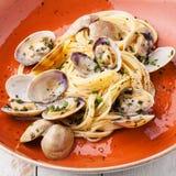 Pasta dei frutti di mare con le vongole Fotografia Stock Libera da Diritti