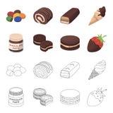 Pasta del cioccolato, biscotto, fragola in cioccolato, hamburger I dessert del cioccolato hanno messo le icone della raccolta nel Fotografie Stock Libere da Diritti