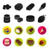 Pasta del cioccolato, biscotto, fragola in cioccolato, hamburger I dessert del cioccolato hanno messo le icone della raccolta nel Fotografia Stock Libera da Diritti