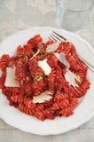 Pasta del curry della barbabietola Fotografie Stock Libere da Diritti