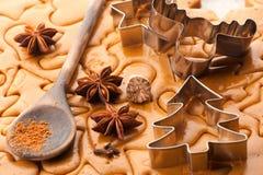 Pasta del fondo de la hornada de la Navidad, cortadores de la galleta y especias Foto de archivo