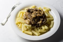Pasta del manzo e del fungo - piatto dello Stroganoff su fondo bianco fotografie stock