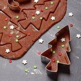 Pasta del pan de jengibre para las galletas de la Navidad foto de archivo