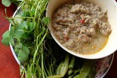 Pasta del peperoncino rosso dello sgombro con la verdura Fotografia Stock Libera da Diritti